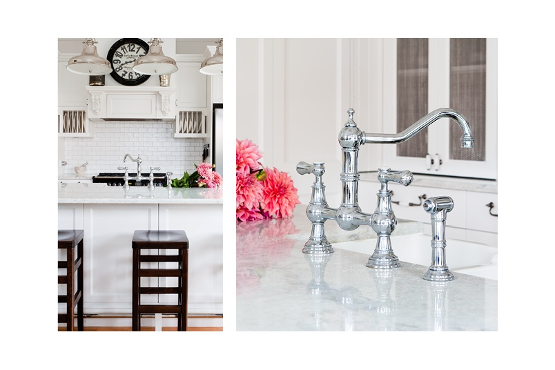 Perrin & Rowe Provence bridge-style kitchen tap with spray rinse in chrome