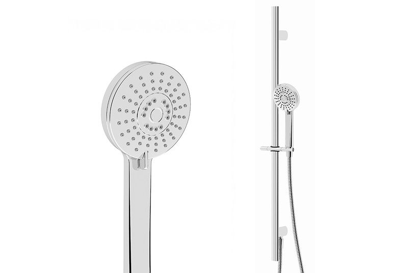 Ovale slide shower with rear inlet.